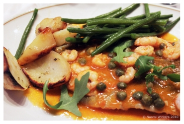 Trout, capers, prawns